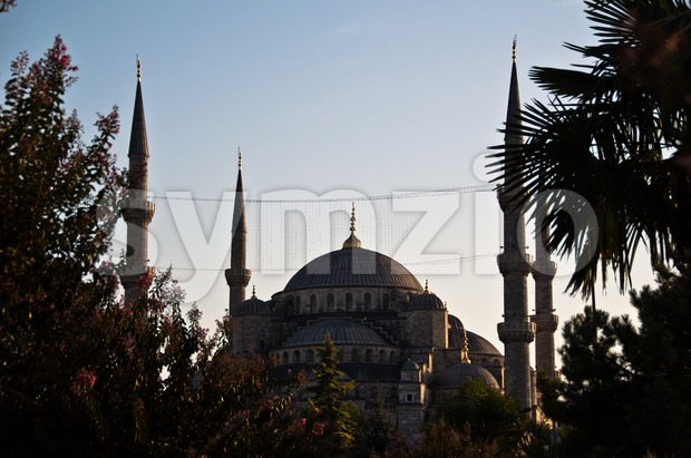 Istanbul - Blue Mosque in Sunset Stock Photo