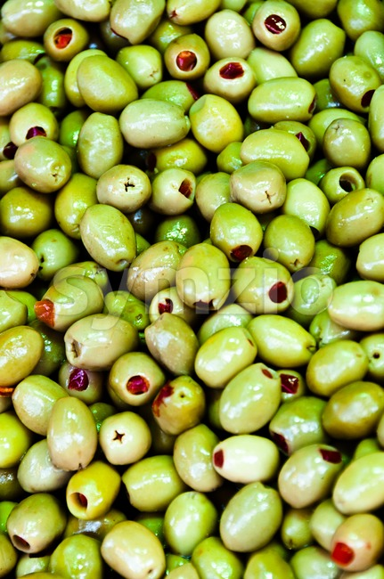 Large collection of filled green olives at Egypt Bazaar (MisirCarsisi) in Istanbul, Turkey