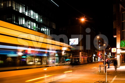 night scenery at the crossroads - bus Stock Photo