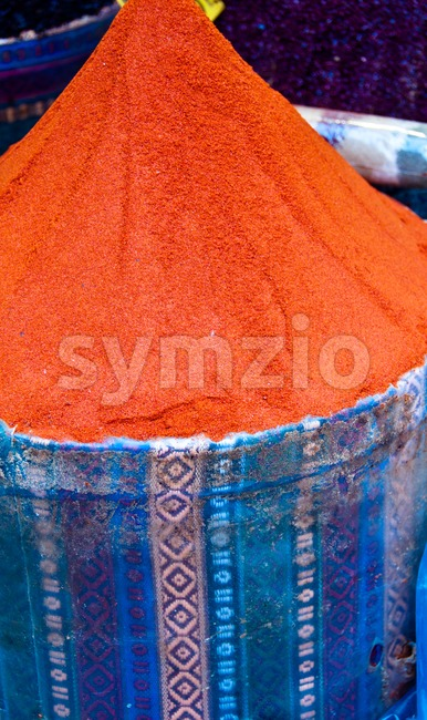 Heap of red ground paprika sold at Egypt Bazaar (MisirCarsisi) in Istanbul, Turkey