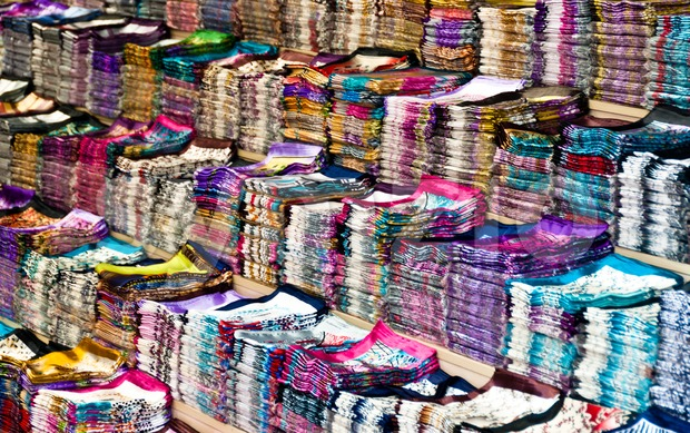 Large collection of silk cloth Stock Photo