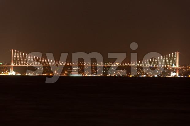Bosporus Bridge at night, Istanbul, Turkey Stock Photo