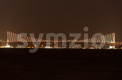 Bosporus Bridge at night, Istanbul, Turkey Stock Photo