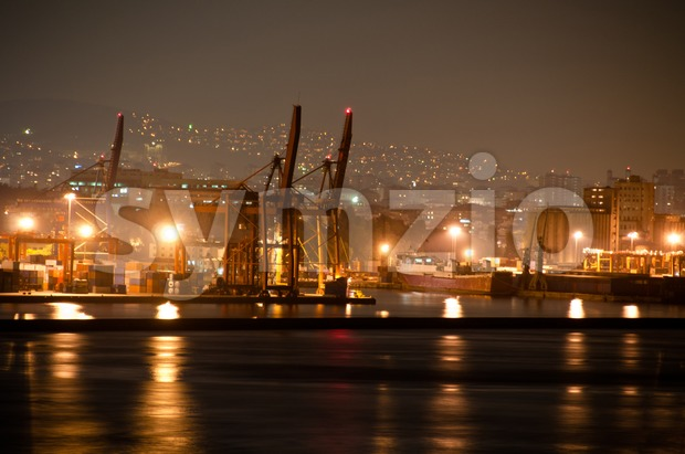 Nightly container harbour Stock Photo