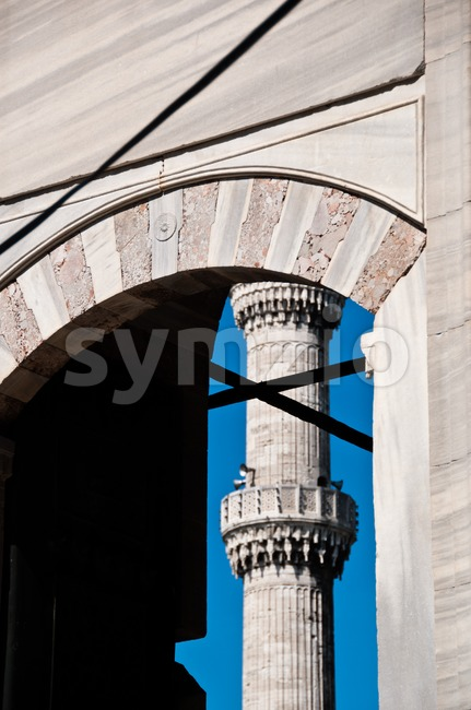 Detail of the famous Blue Mosque of Istanbul, Turkey with great blue sky