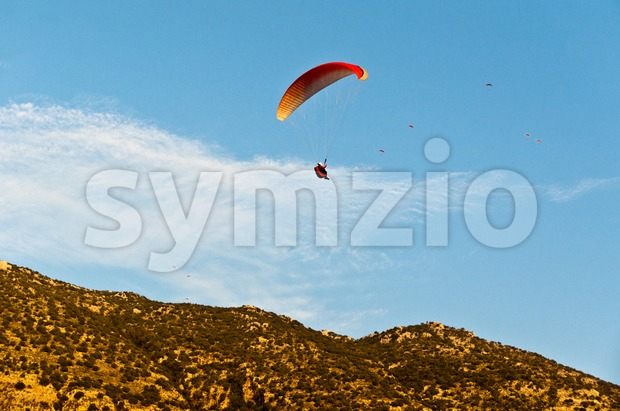 Paragliders in Turkey Stock Photo