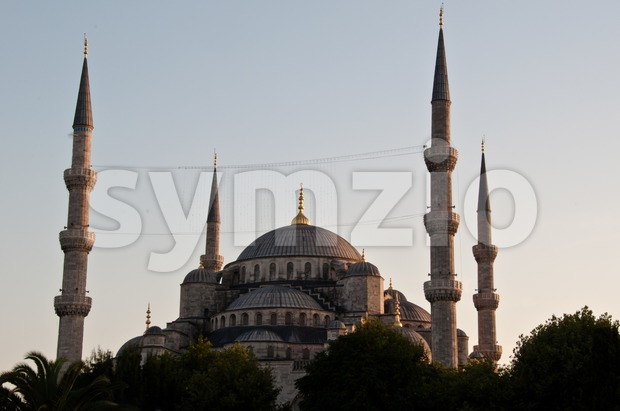 The famous Blue Mosque of Istanbul, Turkey in sunset