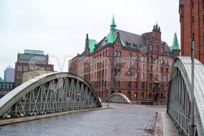 famous old Speicherstadt in Hamburg Stock Photo