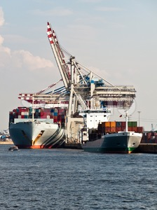 Container Ships in Hamburg Harbor, Germany Stock Photo
