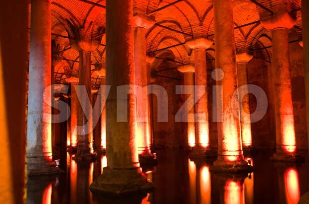 Famous Basilica Cistern, Istanbul, Turkey Stock Photo
