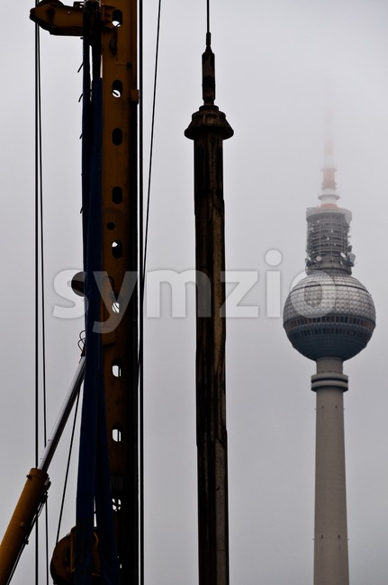 Berlin - Construction around Television Tower Stock Photo