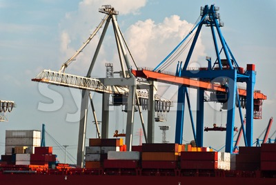 Container Terminal in Hamburg Harbor, Germany Stock Photo