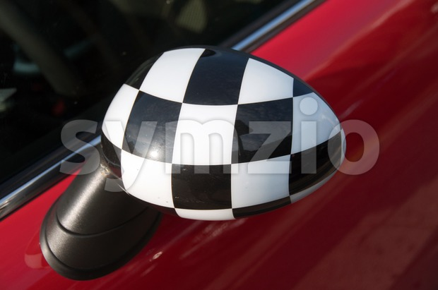 Checkered Exterior Side View Mirror Stock Photo