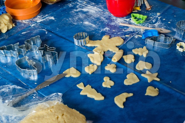 Children baking Christmas cookies Stock Photo