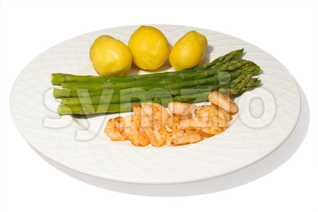 asparagus and shrimps Stock Photo