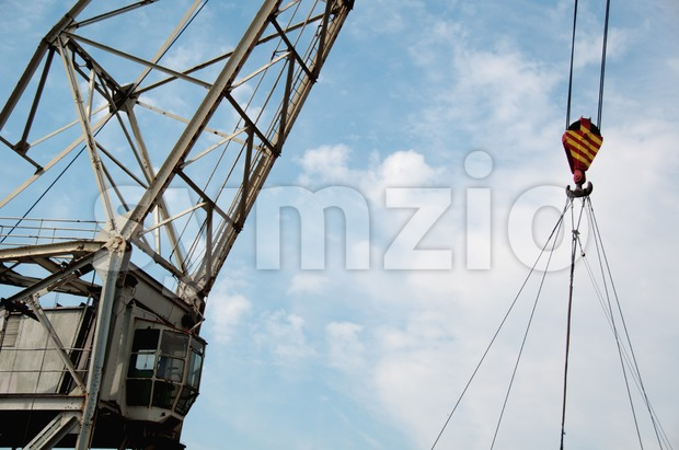 Old ship crane Stock Photo
