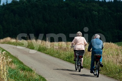 Silver cyclists Stock Photo