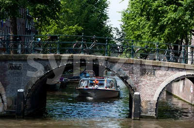 Amsterdam canals and bridge Stock Photo