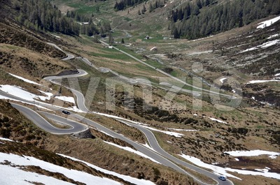 Snowy mountain pass Stock Photo