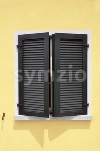 Green window shutters Stock Photo