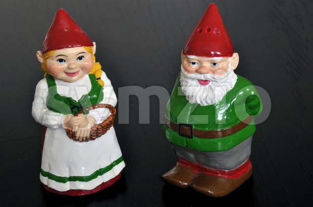 Salt and pepper shaker dwarfs Stock Photo