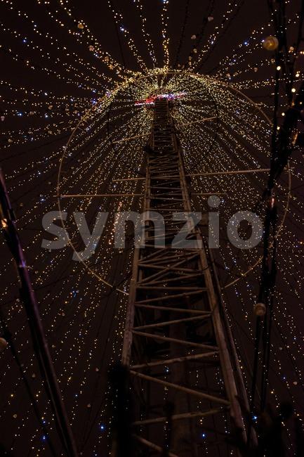 HAMBURG - DECEMBER 1, 2012: Large light installation on the Christmas market in Hamburg, Germany on December 1, 2012. The ...