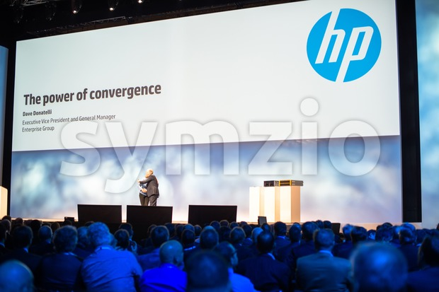 FRANKFURT – DECEMBER 4, 2012: HP president and CEO Meg Whitman welcomes Execute Vice President Dave Donatelli for a keynote ...
