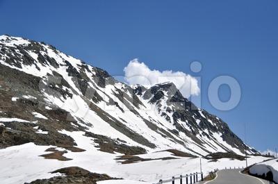 Snowy mountain pass Stock Photo