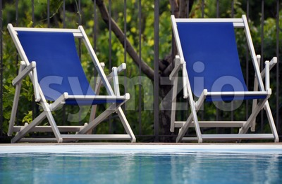 Pool chairs Stock Photo