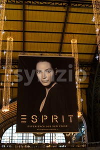 Esprit advertising in main station of Hamburg, Germany Stock Photo