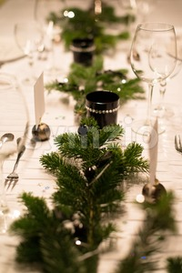 Festive XMas Table Stock Photo