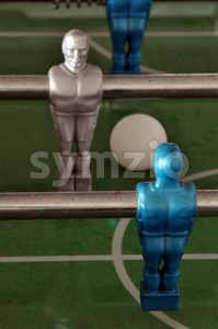 Foosball - table soccer detail Stock Photo