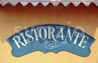 Italian Restaurant sign with room for copy space Stock Photo