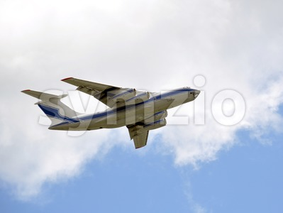 Cargo Airplane taking off into the sky - Closeup Stock Photo