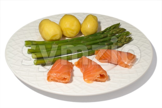 Asparagus with Salmon Stock Photo