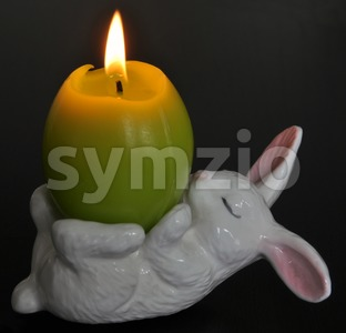 Easter - White rabbit candle holder Stock Photo
