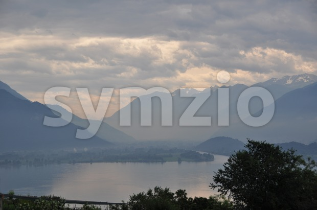 Lake Como in early morning mist 3 Stock Photo