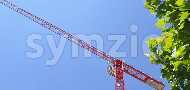 Detail of a red tower construction crane against blue sky with bushes in the front..