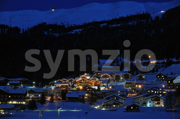 Ski village night scenario Stock Photo