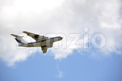 Cargo Airplane taking off into the sky Stock Photo
