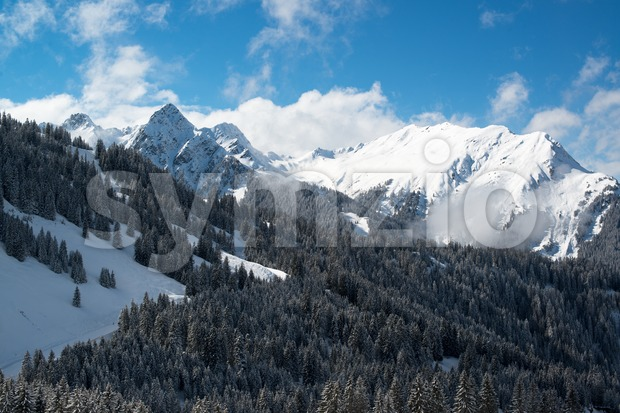 Montafon skiing valley Stock Photo