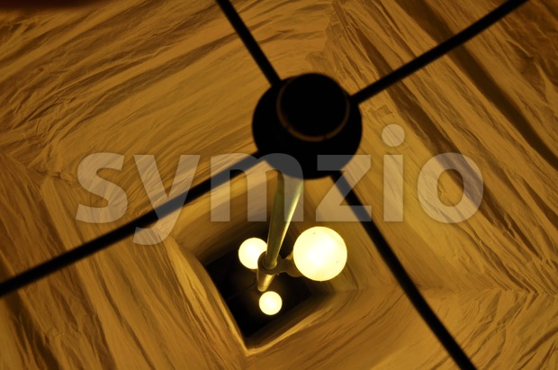 View inside chinese paper lamp Stock Photo