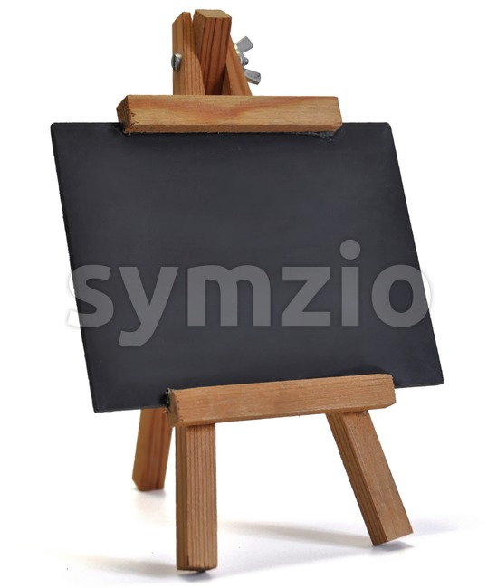 Blackboard with easel (for your text) on white Stock Photo