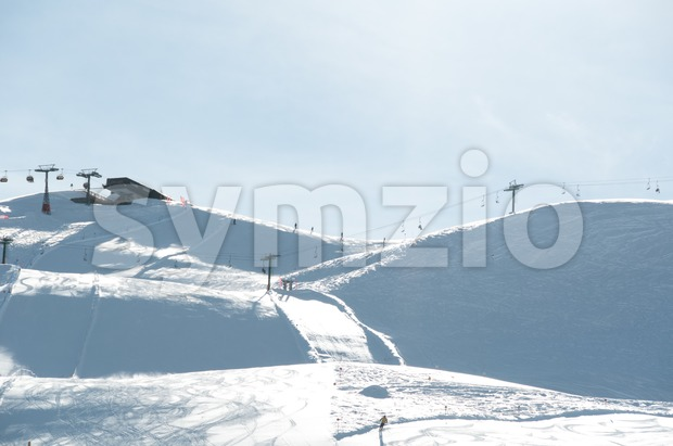 Ski slope with chairlifts Stock Photo