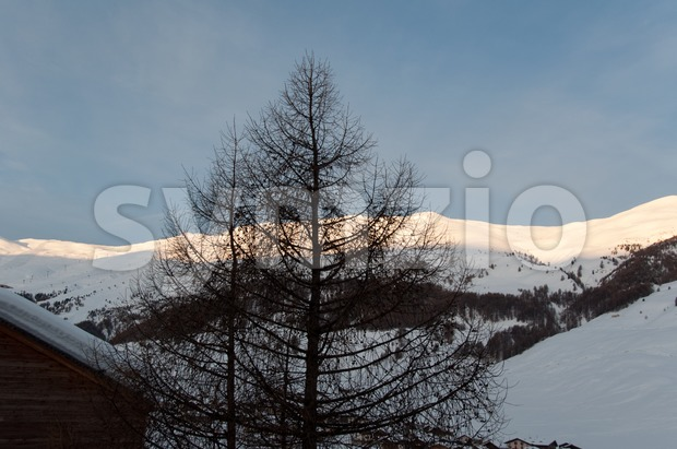 Sunrise in snowy Italian alps Stock Photo