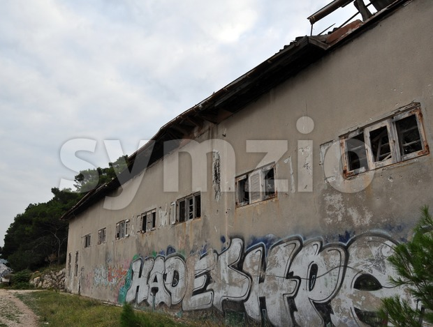 Rundown ruins of a factory building Stock Photo