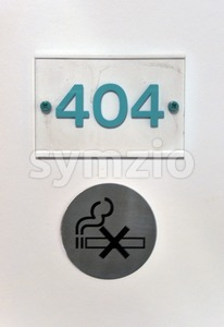 Hotel room number 404 Stock Photo
