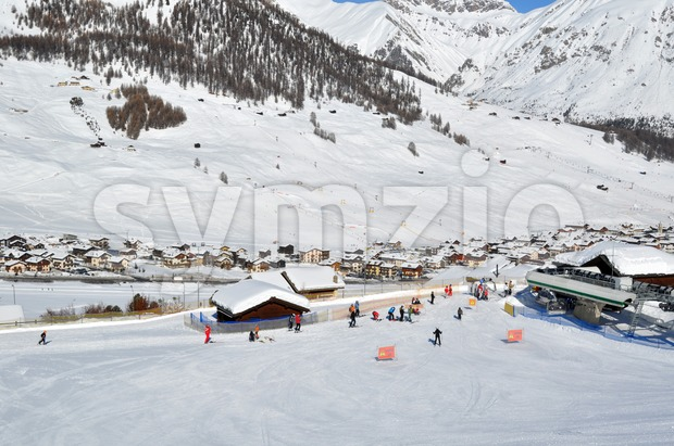 Ski village scenario Stock Photo