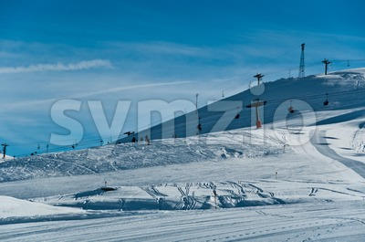 Ski slopes with chairlifts Stock Photo