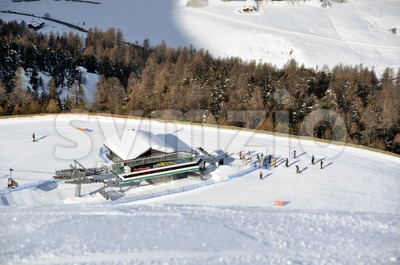 View down ski slope on chairlift station Stock Photo